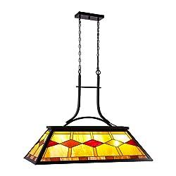 CO-Z Billiard Pool Table Light, 3-Light 3Lt Hanging Pendant Lighting Fixture, 3 Lights Kitchen Island Chandelier, Antique Bronze Finish Billiards Light with Tiffany-Style Shade