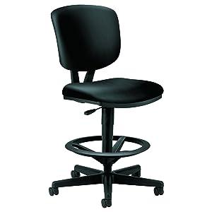 HON H5705.SB11.T Volt Task Stool - Leather Office Stool for Standing Desk, Black (H5705)