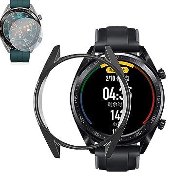 RLTech Huawei Watch GT Active Funda, Protector Pantalla y Ultra Delgada Suave TPU Anti-Rasguños Case Cover para Huawei Watch GT/GT Active (Negro)