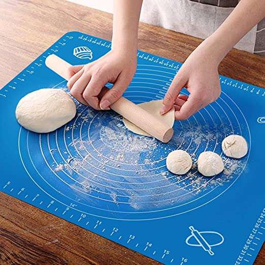 Fondant Large Non-Stick Baking Mat for Rolling Dough Pizza Pie Crust Non Slip Silicone Pastry Mat Bread Baking Cookie- Easy Clean Kneading Mats with Measurements,Blue
