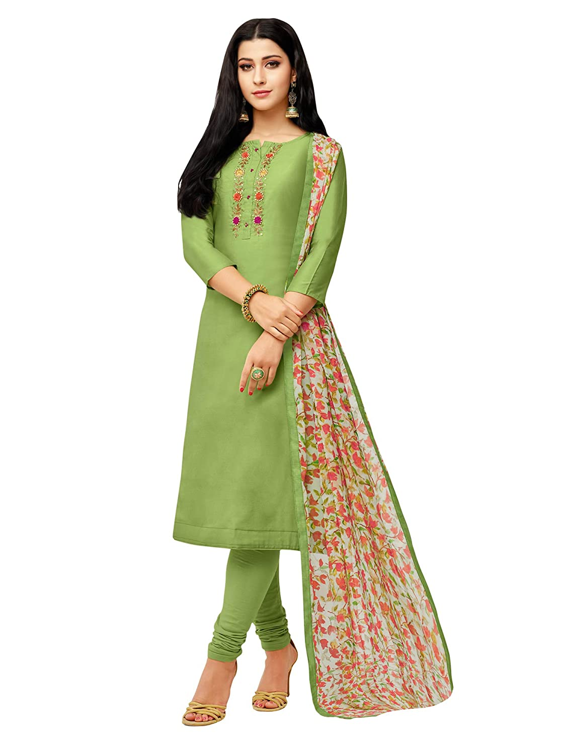 AKHILAM Women's Embroidered Chanderi Cotton Semi-Stitched Chudidar Salwar Suit Dress Material with Chiffon Dupatta (Green_Free Size)