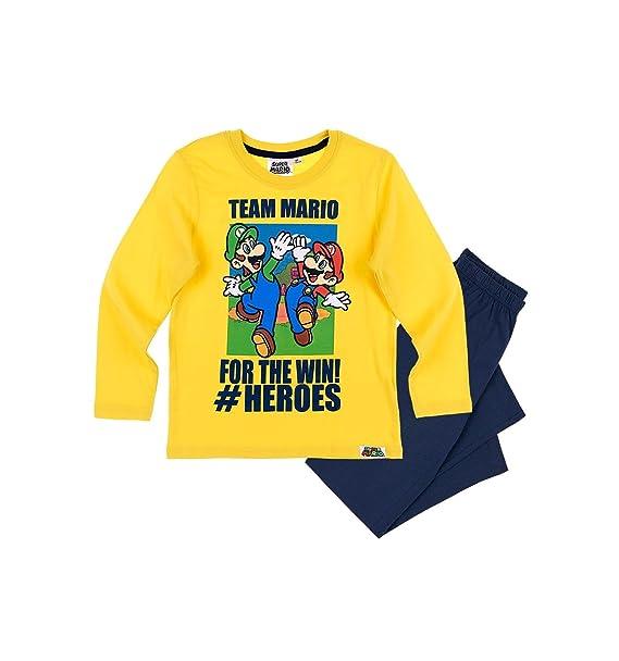 Mario Bros - Pijama dos piezas - para niño Jaune/marine 10 años