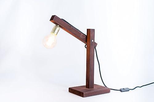 Lámpara de madera, lámpara edison, lámpara de mesa, lámpara ...