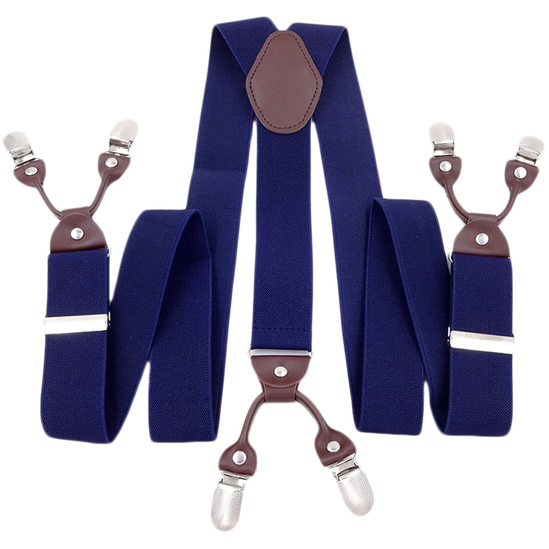 Suspender for Men Wedding Celebration Business Casual Formal Party Dinner Clip-On Suit Jeans Brace Navy Blue