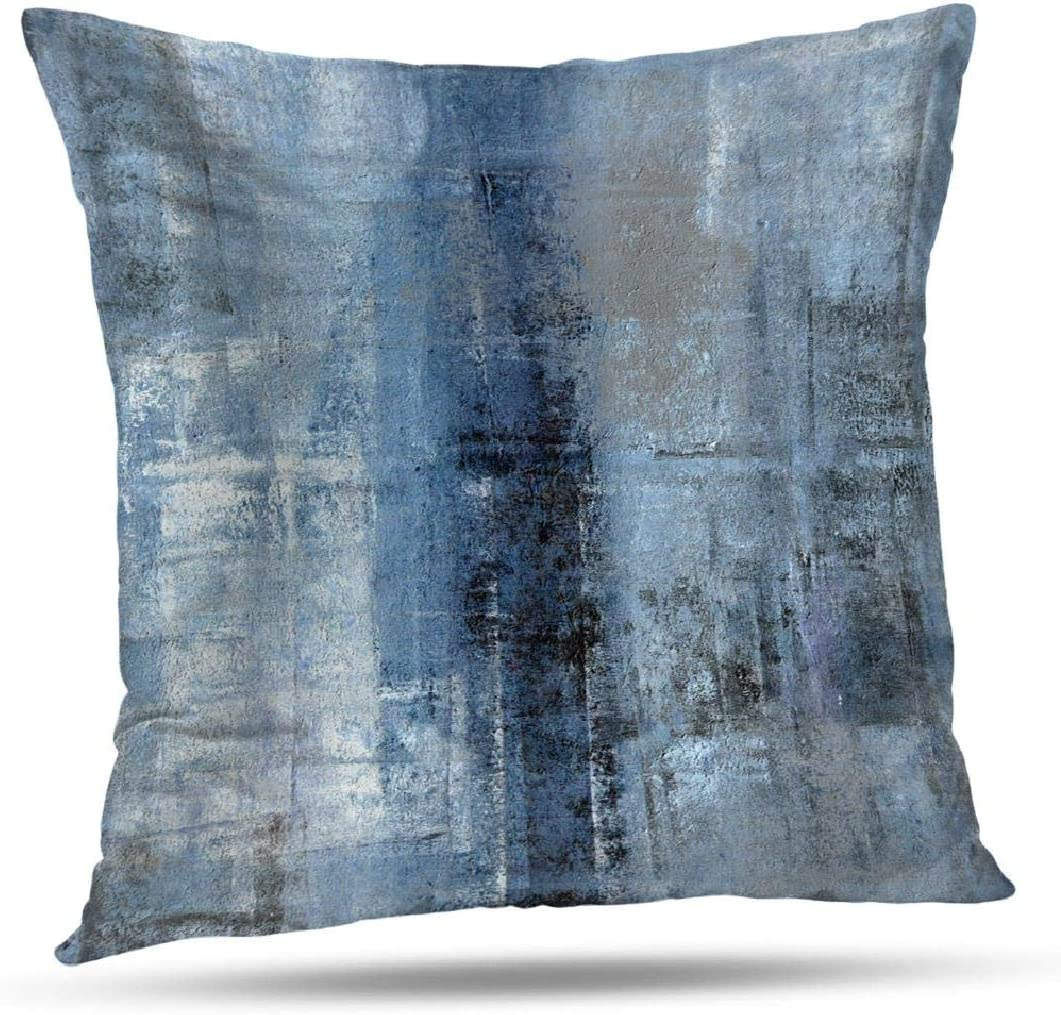 Alricc Blue and Grey Abstract Art Artwork Pillow Cover, Gallery Modern Decorative Throw Pillows Cushion Cover for Bedroom Sofa Living Room 16 x 16 Inch