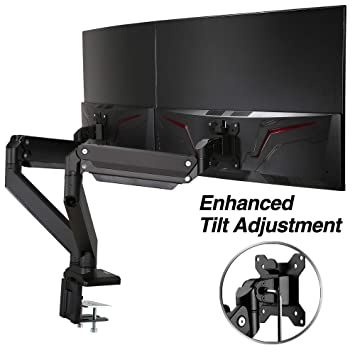 "AVLT-Power Dual 35"" Monitor Desk Stand - Mount Two 33 lbs Computer Monitors on 2 Full Motion Adjustable Arms - Military Grade - Organize Work Surface with Ergonomic Viewing Angle VESA Monitor Mount"