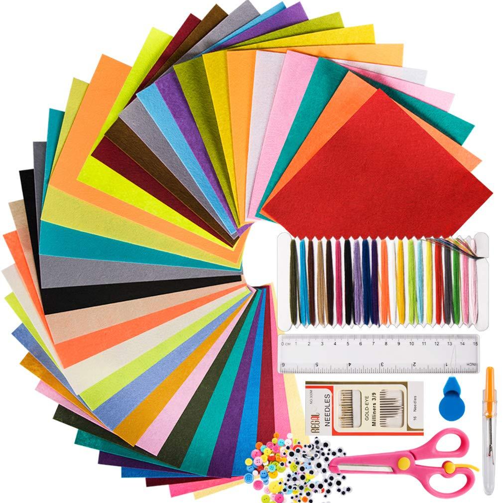 GIEMSON Felt Sheets Set 80 Colors Felt Sheets Stiff Felt Fabric Hard Felt Squares Craft Felt 2mm Thickness for Kids…