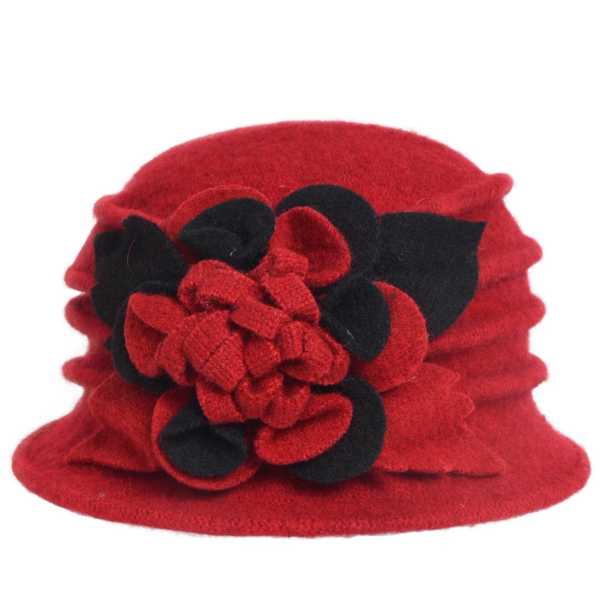 HISSHE Lady Wool Floral Bucket Cloche Bowler Hat Felt Dress Hat C030