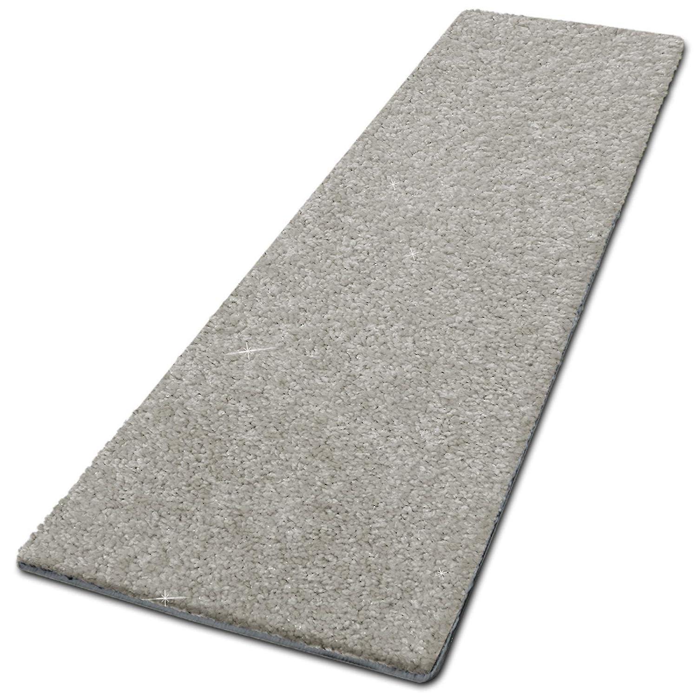 casa pura Glitzer-Teppich Läufer Memphis nach Maß | Teppichläufer für Wohnzimmer, Flur und Küche | mit eingewebten Glitzerfäden | mit Stufenmatten kombinierbar (Silber - 80x300 cm)