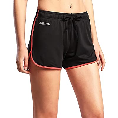 "Ogeenier Women's 3"" Fitted Sports Shorts Bodybuilding Gym Workout Yoga Zip Pockets"