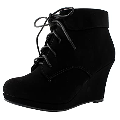 Womens Ankle Wedge Boots Faux Nubuck Platform Round Toe Booties Black Lace Up
