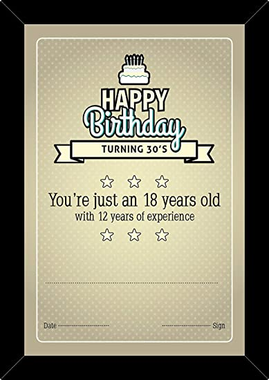 100yellow - Gift Certificate, Unique Greeting Cards, Happy Birthday turning 30's Certificate with Frame