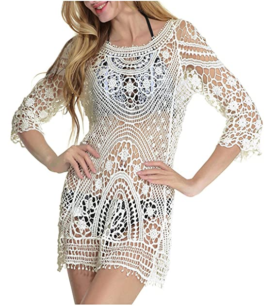 6247fda71a58 CHIC DIARY Women Sexy Lace Crochet Bikini Cover Up Beach Dress for Swimwear  Beige