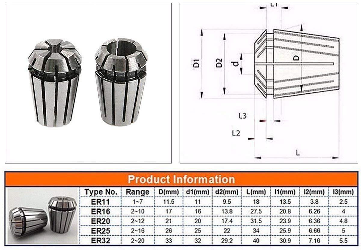 ER11 Collet Chuck Set,13 PCS ER11 Spring Collet Chuck Set 1-10MM for CNC Engraving Machine & Milling Lathe Tool Holder (ER 11 /13PCS)