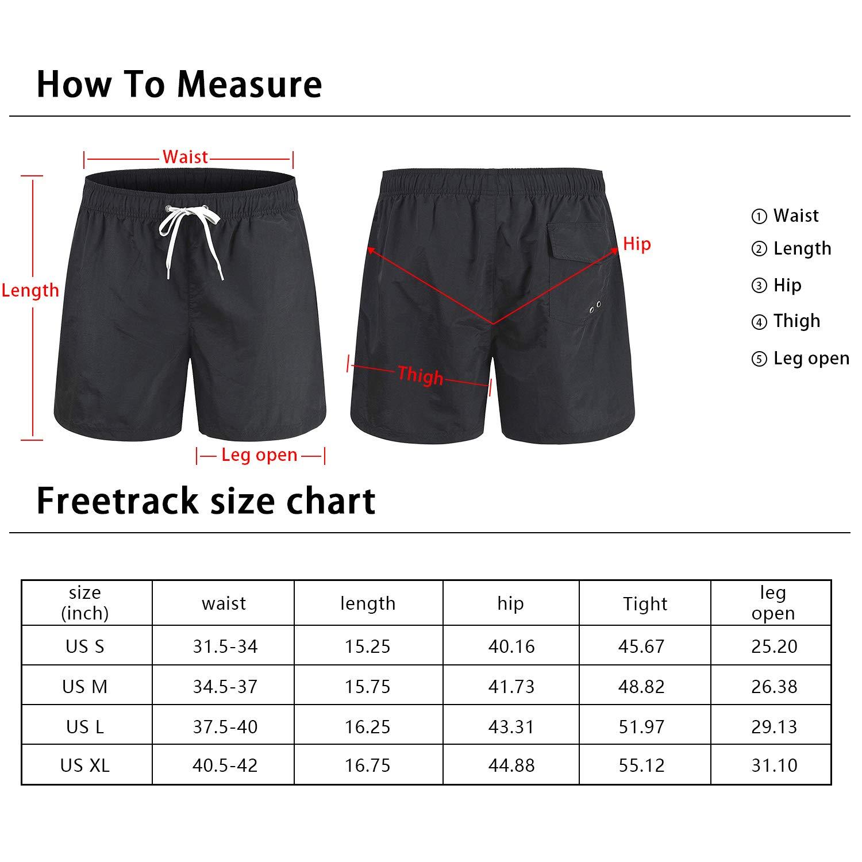 Freetrack Men Swim Trunks Quick Dry Beach Shorts Board Short Bathing Suits Mesh Lining Swimwear with