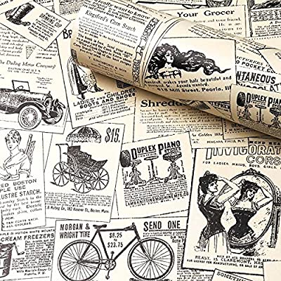 Contact Paper Newspaper, H2MTOOL Removable Peel and Stick Wallpaper