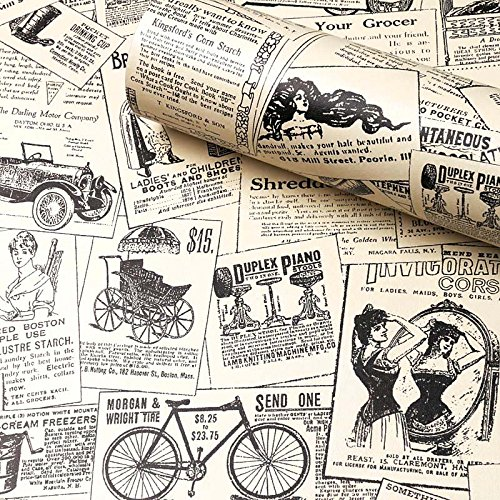 "(Contact Paper Newspaper, H2MTOOL Removable Peel and Stick Wallpaper (17.7"" x 78.7"", Newspaper))"