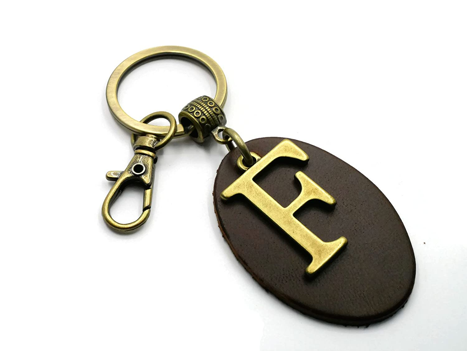 I BBKC2019 Hellobrownbeans BrownBeans Mens Womens Personalized Initial Monogram Letter Leather Key Fob Keychain