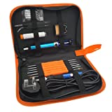 TiGree Electric Soldering Iron Kit, Temperature Adjustable, Solder Sucker, 5pcs Different Tips, 6 Aid Tools and Cleaning Sponge in PU Carry Bag
