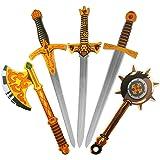 "Pack of 5 26"" Assorted EVA Foam Swords Set Warrior Weapons Toy Pretend Playset for Kids Different Designs Including Golden Axe, Hammer, Samurai Swords"