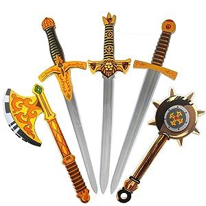 "Rainbow yuango Pack of 5 26"" Assorted EVA Foam Swords Set Warrior Weapons Toy Pretend Playset for Kids Different Designs Including Golden Axe, Hammer, Samurai Swords"
