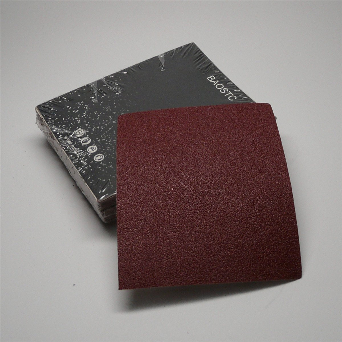 BAOSTC 1/4 sandpaper sheet,4-1/2''*5-1/2'' P80,red aluminum oxide 50PACK