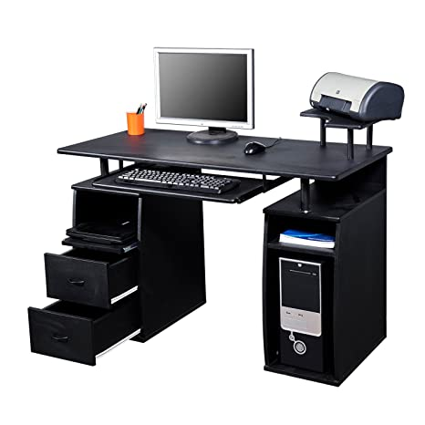 Outsunny escritorio Mesa para ordenador con bandeja para impresora ...