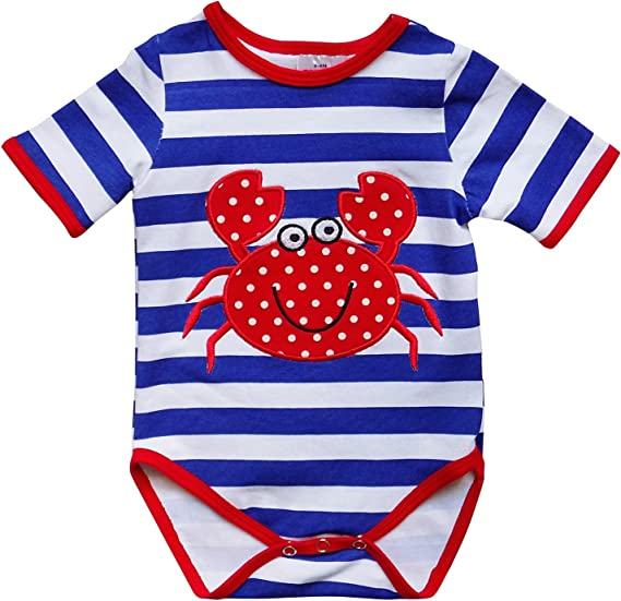 Baby Romper blue and white stripes w// crab multiple sizes boutique style outfit