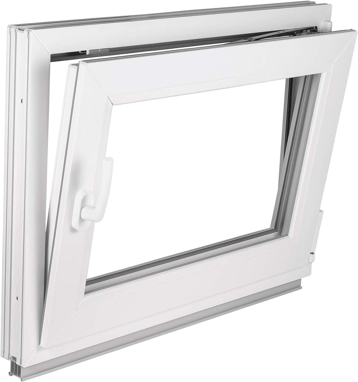 Dreh//Kipp Kellerfenster Kunststoff//PVC Wei/ß Anschlag:DIN Links Glas:2-Fach BxH:500x900