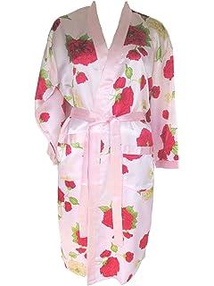 AM-DA-Kim-DBL Marine mit Blumenmotiv Morgenmantel Dunkelblau LingSang Damen Seiden-//Satin-Kimono