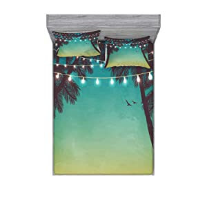 Ambesonne Nature Bedding Set with Sheet & Covers, Night Time Beach Sunset Design with Little Lantern and Island Palm Trees Art Print, Printed Bedroom Decor 2 Shams, Full, Teal