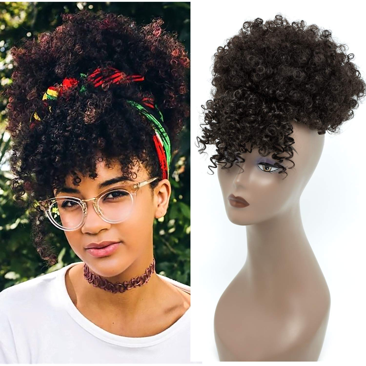 Amazon Com Synthetic Short Kinky Curly Pony Tail High Afro Puff Drawstring Ponytail Clip In On Synthetic Curly Hair Bun Wrap Updo Hair Extensions With Clips Puff Drawstring Ponytail With Bangs 2