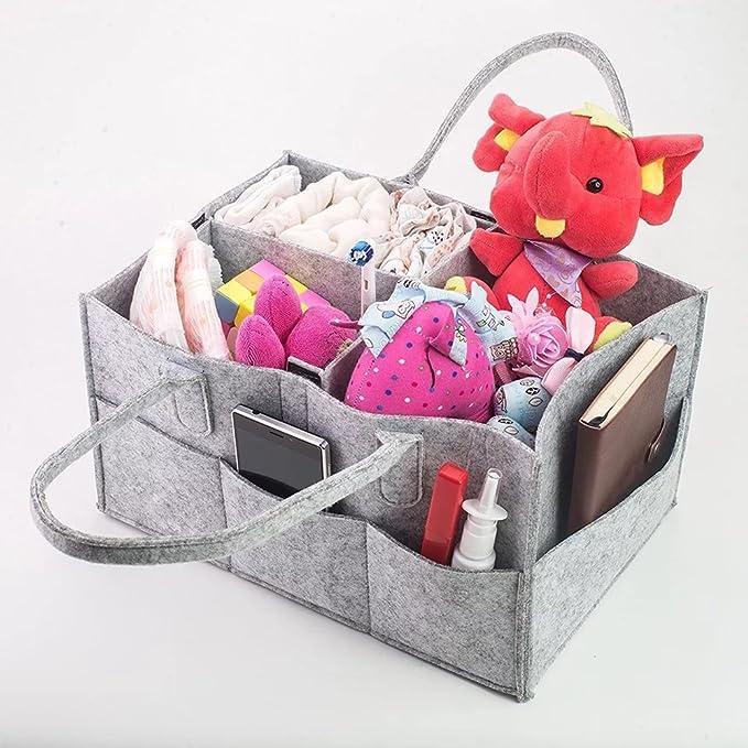 Bebé Bolsa de Pañales Caddy, pyhot Nursery multifunción bolsa de almacenamiento cesta plegable de basura para pañales, toallitas para bebé, niños juguetes ...
