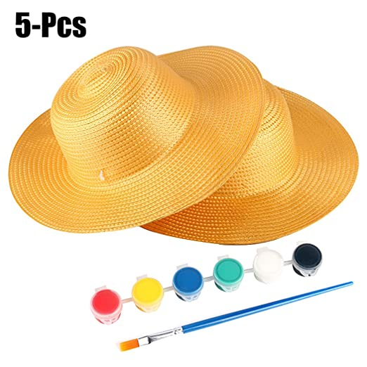 0890a29af8e Fansport 5PCS Kids Straw Hat Creative DIY Cowboy Hat with Paint and Paint  Brush