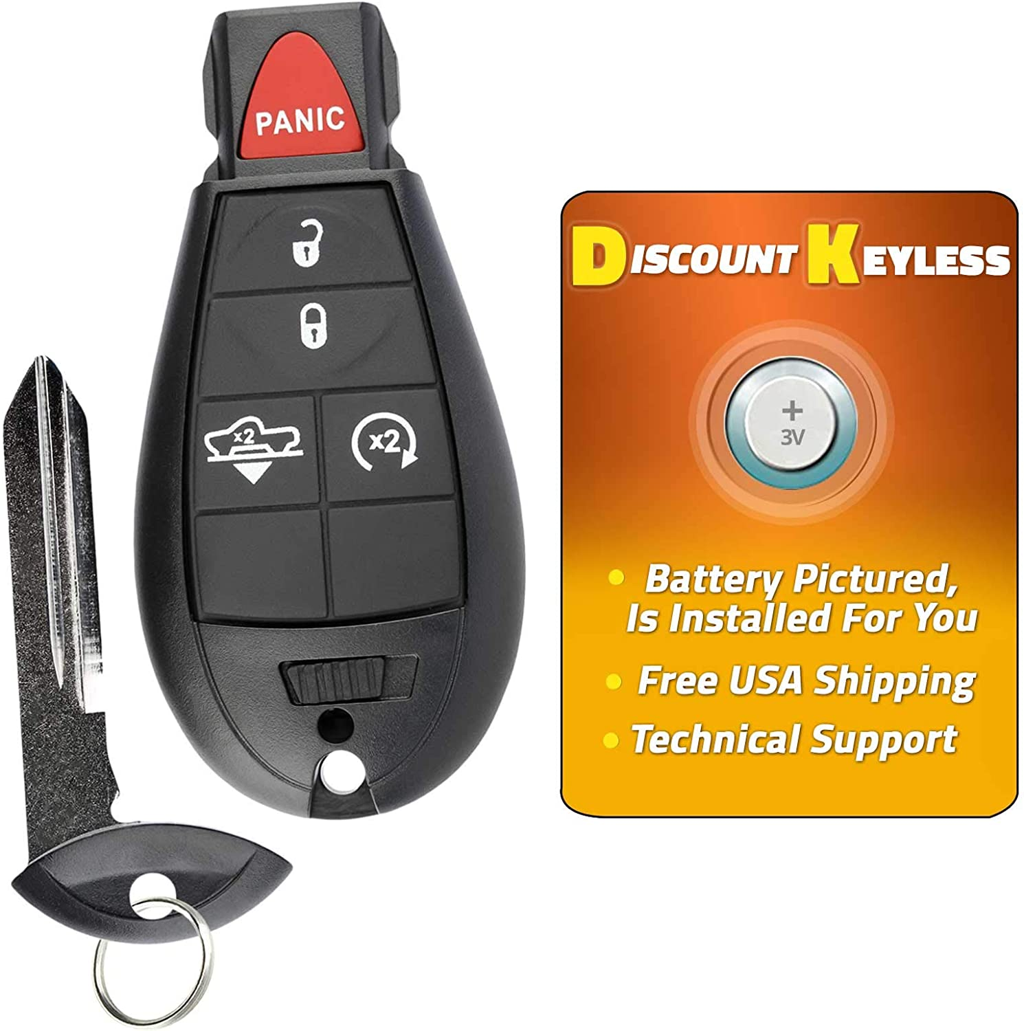 68159655 For 15-17 Ram 1500 With Air Suspension Keyless Entry Remote Key Fob 5btn GQ4-53T