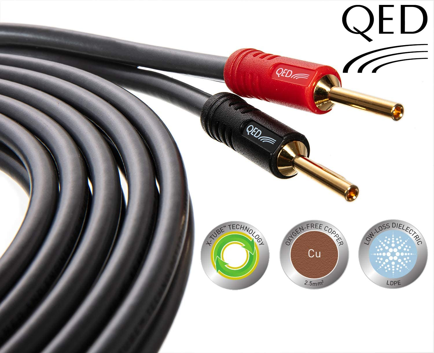 Two Cables Terminated Gold Plated 4mm Banana Plugs On All Ends 8 Plugs In Total QED Reference XT40i Speaker Cable 3.5 Metre Pair