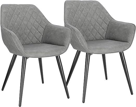 WOLTU Esszimmerstühle BH251gr 2 2er Set Küchenstühle Wohnzimmerstuhl Polsterstuhl Design Stuhl mit Armlehne Kunstleder Gestell aus Stahl Grau