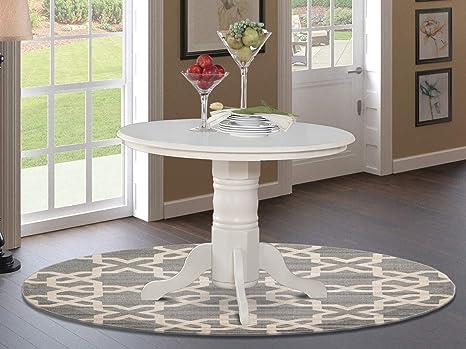 Amazon Com East West Furniture Shelton Wood Kitchen Table Linen White Top And Pedestal Legs Hardwood Structure Decor
