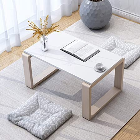 LJHA bianzhuo Mesa auxiliar, Mesa de centro cuadrada de madera ...