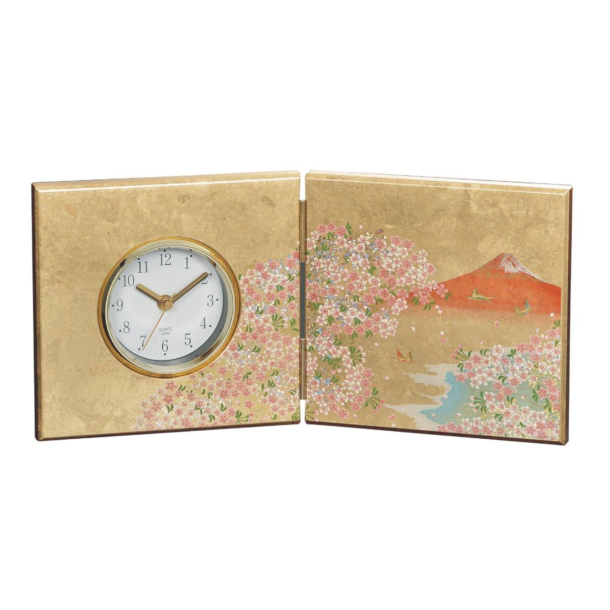 置き時計 置時計 和 和風 和柄 和雑貨 桜 富士 海外 土産 日本のお土産 華富士 屏風時計 16838 B07DD1WHHP