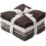 8 Pack Popcorn Texture Terry Wash Cloths Rags Charcoal Dark Gray Grey White