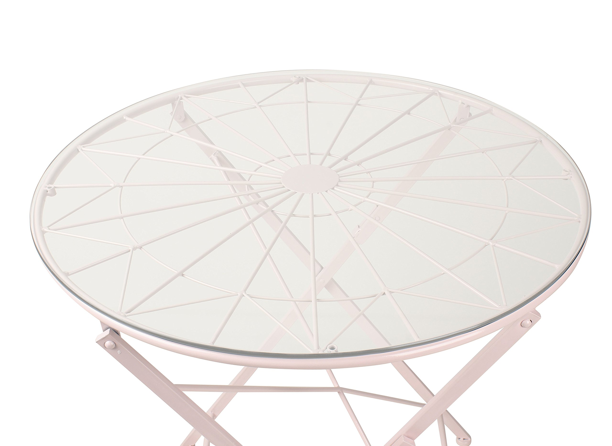 Kate and Laurel Kate & Laurel Thrapston Metal & Glass Round Dining Table, Pink by Kate and Laurel (Image #3)