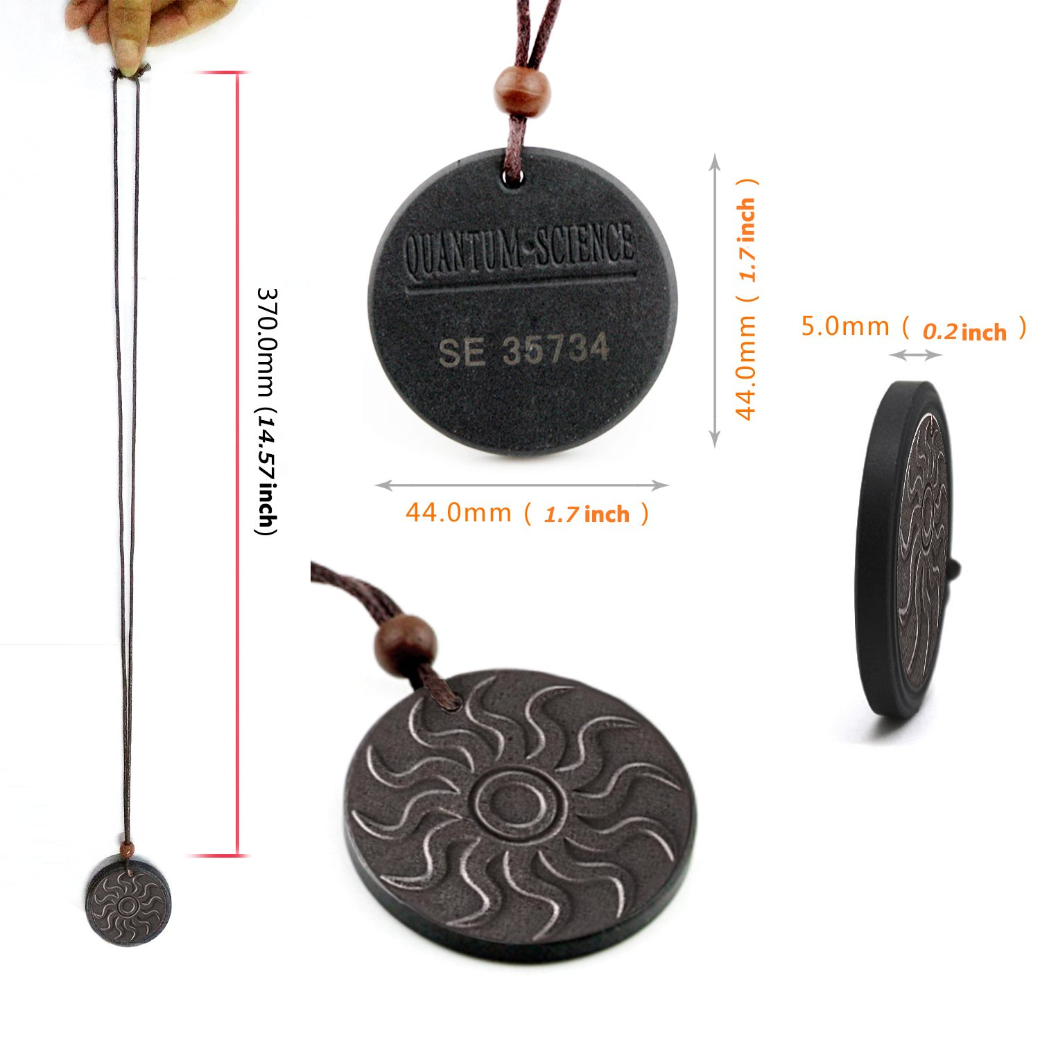 Anti EMF Radiation Protection PENDANT,Far Infrared & Scalar Energy Volcanic  Lava, Reverse Aging Joint Pain Blood Circulation