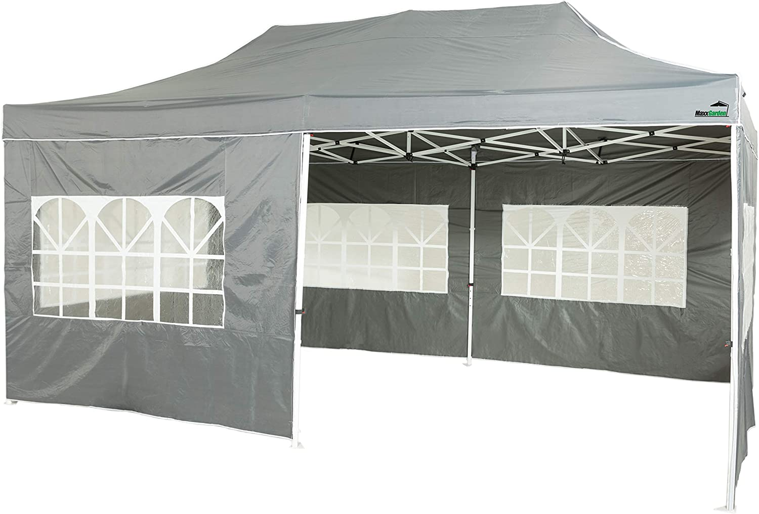 MaxxGarden - Carpa Impermeable de 3 x 4, 5 m, Incluye Bolsa, protección UV 50+, Plegable, para jardín, con Paredes Laterales, Color Antracita: Amazon.es: Jardín