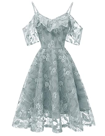 8a5e0d94402 Kalin Women Floral Lace Spaghetti Strap Flounce Wrap Mini Skater Party  Cocktail Dress