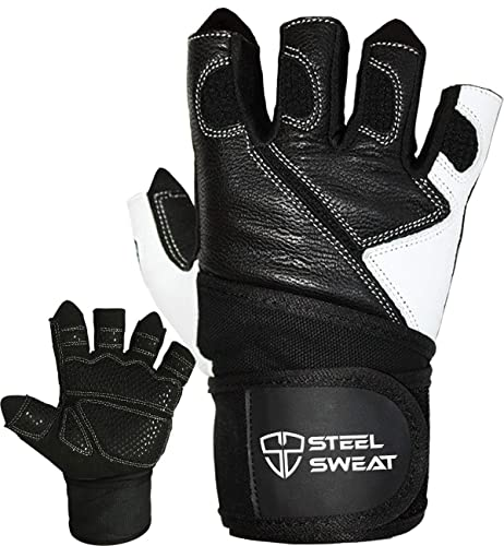 Steel Sweat Weightlifting Gloves - 18 inch Wrist Wrap Support for Workout