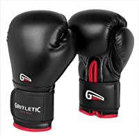 Gritletic PowerGrip Boxing Bag Training Gloves for Men and Women-Synthetic Leather Pro Trainer Gel Fight Gloves for…