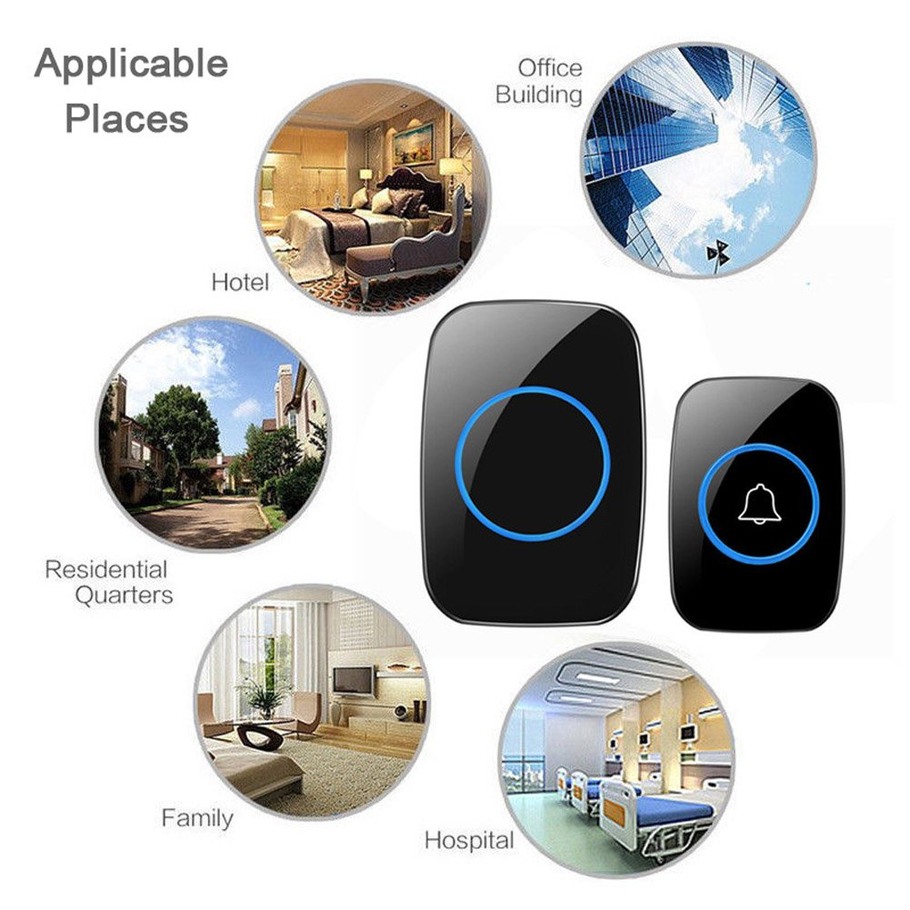 Wireless Doorbell, FullHouse Waterproof Door Chime Kit Includes Push Button Transmitter and Plug-In Receiver, Over 1000 feet Range, CD Quality Sound and LED Flash (2 Transmitter + 4 Receiver Black) by FullHouse (Image #6)