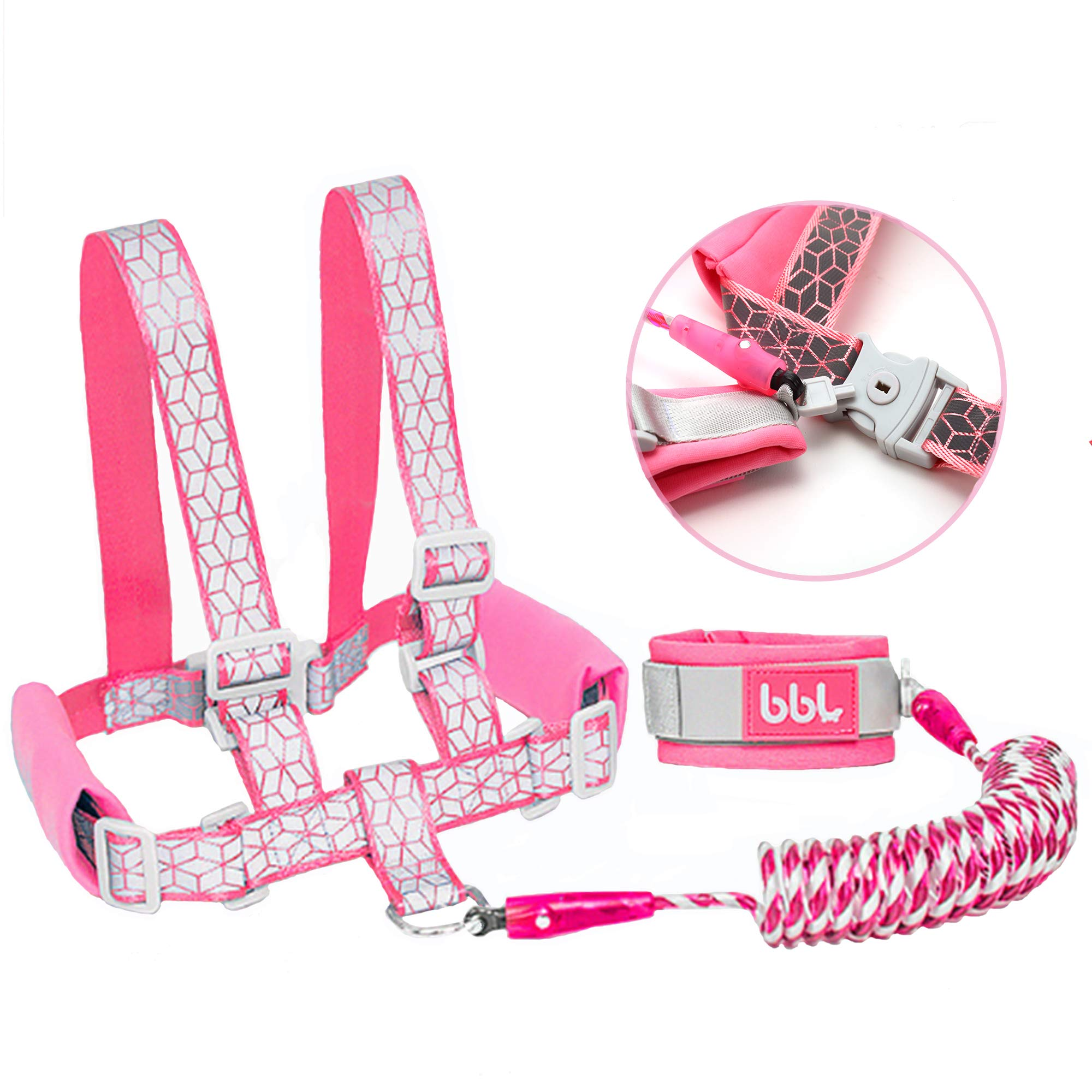 Toddler Harness Walking Leash- Child Anti Lost Wrist Link - Child Safety Harness - Upgrade with Reflective Tape Liner(6.5ft)- for 1-12 Years Boys and Girls to Disneyland, Zoo or Mall (Pink Leash)