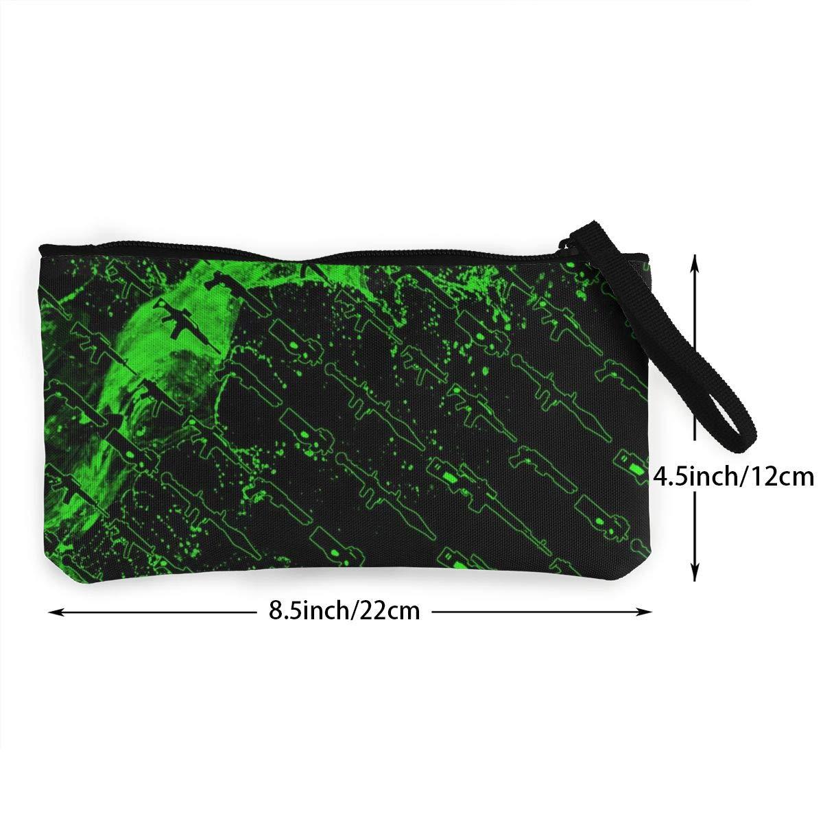 YUANSHAN Green Guns Unisex Canvas Coin Purse Change Cash Bag Zipper Small Purse Wallets with Handle
